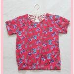 **สินค้าหมด blouse2006 เสื้อแฟชั่นน่ารัก แขนสั้น จัมพ์เอว ผ้าชีฟองเนื้อหนาลายโบว์สีแดง