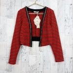 SALE!! blouse1814 เสื้อคลุมแฟชั่น แขนยาว บ่าฟองน้ำ ผ้ายืดเนื้อหนาลายขวาง สีดำส้ม