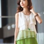 เสื้อใส่ทำงานผู้หญิง เสื้อใส่เที่ยว ผ้าชีฟอง ทำเป็น ระบายชั้น ๆ เสื้อแขนกุด ใส่ในวันสบาย ๆ สีขาว เขียว no 725163