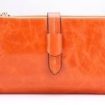 กระเป๋าสตางค์หนังแท้ กระเป๋าสตางค์ผู้หญิง ใบยาว หนังมันเงา จุบัตรได้เยอะ เสริมความจุด้วย กระเป๋าใส่บัตร ถอดเข้าออกได้ สีส้ม no 606452_1