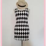 **สินค้าหมด dress2093 เดรสแฟชั่นงานแพลตตินั่มผ้ายืดเนื้อดี แขนกุด ลายข้าวหลามตัดโทนสีขาวดำ รอบอก 36 นิ้ว