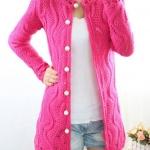 เสื้อไหมพรมถัก ตัวยาว แขนยาว สามารถใส่เป็น ชุดคลุมใน office ได้ สวยเก๋ ชุดคลุม แบบไฮโซ เสื้อกันหนาว สีชมพู no 562327_3