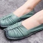 รองเท้าหุ้มส้น รองเท้าหนังแท้ รองเท้าผู้หญิง แฟชั่น ดีไซน์ หนังนิ่ม ใส่สบาย ยืดหยุ่นสูง ออกแบบ จับจีบ หน้าเท้า สีเขียวอมฟ้า 474582_1