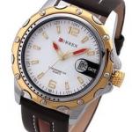 นาฬิกาข้อมือผู้ชาย สายหนังสีน้ำตาล ขอบหน้าปัดสีทอง ด้านในสีขาว เรียบหรู ราคาถูก no 436404