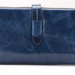 กระเป๋าสตางค์หนังแท้ กระเป๋าสตางค์ผู้หญิง ใบยาว หนังมันเงา จุบัตรได้เยอะ เสริมความจุด้วย กระเป๋าใส่บัตร ถอดเข้าออกได้ สีน้ำเงิน no 606452_5