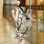 กระเป๋าเป้ กระเป๋าสะพายหลัง 2 สไตล์ กระเป๋าสะพายหลัง และ กระเป๋าสะพายข้าง ผ้า canvas อย่างดี สไตล์ เกาหลี สีเบจ กากี no 3306632_3