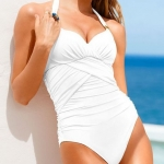 ชุดว่ายน้ำวันพีช สีขาว แบบไฮโซ สุด ๆ แฟชั่น ดีไซน์ สินค้านำเข้า ราคาพิเศษ no 76380