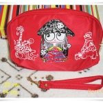 กระเป๋าใส่ของ กระเป๋าใส่เครื่องสำอางค์ Marc By Marc Jacob สีแดงขนาดกลาง