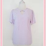 **สินค้าหมด Sale!! blouse1625 เสื้อแฟชั่นผ้าชีฟองสีพื้นปักมุกแขนระบาย สีม่วงอ่อน