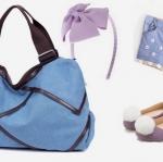 กระเป๋าเดินทาง กระเป๋าใส่เสื้อผ้า เที่ยวต่างจังหวัด เที่ยวชายทะเล แบบมีสไตล์ สีสันสดใส ผ้าแคนวาสกันน้ำ ใช้หนังแต่งขอบ สวยหรู สีฟ้า 279580