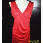 #1124 Used เดรสออกงานสีแดง แขนกุด เนื้อผ้า Spandex ผสม