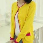 เสื้อไหมพรม เสื้อถักนิตติ้ง เสื้อคลุม ผู้หญิง ใส่ในห้องแอร์ สีเหลือง สดใส ตัดขอบ สีชมพู Jacket มีดีไซน์ เสื้อใส่เรียน ห้องแอร์ 676786_3