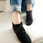 รองเท้าหุ้มส้น สูงเกือบข้อ รองเท้าผู้หญิงหุ้มส้น พื้นยาง ดีไซน์ สไตล์วินเทจ สุดคลาสสิค แบบเชือกผูกด้านหน้า สีพื้น สีดำ 502089_1