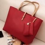 กระเป๋าถือสำหรับผู้หญิง ใบใหญ่ วัสดุ PU ทนทานกันน้ำได้ สีแดง