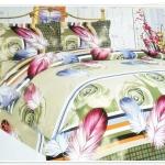 ชุดผ้าปูที่นอน ผ้าปูเตียง 6 ฟุต 3 ชิ้น ลายขนนก P008
