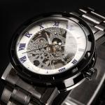 นาฬิกาข้อมือ โชว์กลไก Mechanical watch นาฬิกาเปลือย สาย Stainless Steel สีดำ ยอดนิยม หน้าปัดสีขาว เลขโรมัน สีน้ำเงิน สวยหรู มีระดับ 268605_8