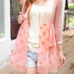 เสื้อคลุม เสื้อ Jacket ผู้หญิง ผ้าซีทรู กระโปรง ลายจุด สีชมพูอมส้ม หวาน ๆ เสื้อแจ็คเก็ต ตัวยาว ลุ๊ค คุณหนู สามารถใส่ เป็น ชุดเดรส ใส่กับกางเกงขาสั้น 463462_1