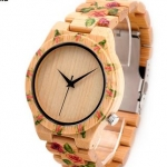 นาฬิกาข้อมือ ผู้หญิง นาฬิกา งานไม้ นาฬิกาไม้ไผ่ นาฬิกาไม้ เพ้นท์ ลายดอกกุหลาบ แสนหวาน แบบสวย ดีไซน์ เก๋ ของขวัญให้แฟน 764882