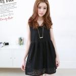 Best N Eve เสื้อแขนกุดตัวยาว ผ้าลูกไม้ รุ่น Y-40A4 - Black Lace Short Dress