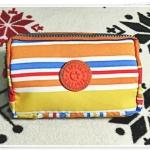 กระเป๋าใส่ดินสอ ใส่ของจุกจิก ลายทาง สีส้ม KP906
