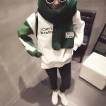 สีเขียว ผ้าพันคอ สไตล์เกาหลี ไหมพรม พร้อมส่ง