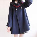 Japan style coat พร้อมส่ง โค้ทกันหนาว ทรงญี่ปุ่นน่ารัก ผ้าสำลีผสมสักหลาด บุซับในกันลม