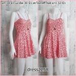 **สินค้าหมด dress2258 เดรสแฟชั่นสายเดี่ยว ผ้าไหมอิตาลีลายเหลี่ยม สีขาวแดง