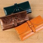 กระเป๋าสตางค์หนังแท้ กระเป๋าสตางค์ผู้หญิง ใบยาว หนังแท้ ใส่บัตรได้เยอะ จุใจ กระเป๋าสตางค์หนังวัว ลง Oil wax สีสวย 10 สี 800540