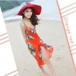 เสื้อคลุมชุดว่ายน้ำ ใส่เล่นเดินชายหาด ชายทะเล เดรส ใส่คลุมชุดบิกินี่ ใส่เดินชายหาด สีส้ม สดใส ลายดอกไม้ สวยเก๋ มีสไตล์ 90104_2