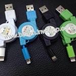 USB+สายชาร์จ แบบเก็บสาย ยืดหดได้ แบบสานกลม**เลือกหัวได้คะ