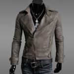 เสื้อ แจ็คเก็ตหนัง แบบ สลิม ฟิต Jacket ผู้ชาย แบบพอดีตัว เสื้อคลุมแขนยาวผู้ชาย เสื้อคลุมหนัง คอปก เปิด ซิปหน้า สีกากี 902206_2