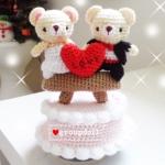 """ตุ๊กตาถัก หมีคู่รัก + กล่องดนตรี 7"""""""