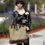 กระเป๋าสะพายข้างผู้หญิง กระเป๋าถือทรงถุง ผ้าแคนวาส ใส่ของได้เยอะ กระเป๋าใส่เสื้อผ้าได้ ใส่หนังสือเรียน ตกแต่งหนังแท้ สีกากี สีสุภาพ 894266_3