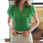 เสื้อใส่ทำงาน ผู้หญิง เนื้อผ้าซีฟอง ปักมุข ที่คอ แขนเป็นระบาย แบบเก๋ สีเขียว no 68369