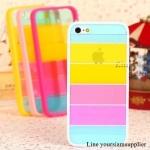 เคส iphone 5 สีรุ้ง Rainbow case ขอบสีขาว ฟรีปากกา Touch screen