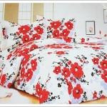 ชุดผ้าปูเตียง ผ้าปูที่นอน สีขาวดอกไม้แดง Cotton 6 ฟุต 5 ชิ้น M003