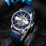 นาฬิกาข้อมือ โชว์กลไก Mechanical watch สายหนัง หน้าปัดสีน้ำเงิน สีหายาก นาฬิกาสายหนัง แบบเท่ ๆ หนุ่มไฮโซ 471609