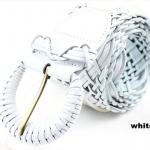 เข็มขัดหนังแท้ เข็มขัดผู้หญิง หนังถักสาน หนังถัก สีขาว เข้ากับทุกชุด สไตล์วินเทจ เก๋ ๆ เข็มขัดหนังถัก เส้นใหญ่ 327475_1