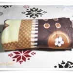 ผ้าห่ม ผ้าสำลี เนื้อนุ่ม 5 ฟุต สีน้ำตาล ลายใบไม้ tw001