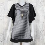 **สินค้าหมด blouse1784 เสื้อแฟชั่นไซส์ใหญ่ตัวยาว (ใส่เป็นเดรสได้) แขนระบาย คอวี ผ้ายืดเนื้อดีสีเทาริ้วกรมท่า