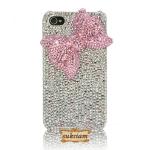 เคสไอโฟนสวย Swarovski Case iPhone 5 ไอโฟนเคส 4s crystal, เคส iPhone 4 ติดเพชร รุ่น Pink Bow โบว์ชมพูหวาน หวาน