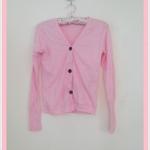 **สินค้าหมด Sale!! blouse1713 เสื้อคลุมแฟชั่นผ้ายืด แขนยาว กระดุมหน้า สีชมพู