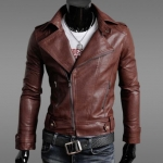 เสื้อ แจ็คเก็ตหนัง แบบ สลิม ฟิต Jacket ผู้ชาย แบบพอดีตัว เสื้อคลุมแขนยาวผู้ชาย เสื้อคลุมหนัง คอปก เปิด ซิปหน้า สีแดงกาแฟ 902206_3