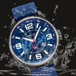 นาฬิกาข้อมือ ผู้ชาย นาฬิกาสายหนังแท้ แบบสปอร์ต มีระบบวันที่ นาฬิกาใส่ทำงาน สีฟ้า เข็มเรืองแสง แบบสวย ดีไซน์เท่ 384437
