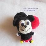 ที่ห้อยกระเป๋า พวงกุญแจตุ๊กตา มิกกี้เม้าส์ถักโครเชต์ mickey mouse dolls pom pom amigurumi crochet keychain
