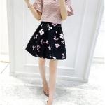 Skirt336 กระโปรงลายดอกชมพูพื้นสีดำ ซิปหลัง มีซับในอย่างดี ผ้าซาตินซิลค์เนื้อดีหนาสวย แมทช์กับเสื้อตัวไหนก็ดูดีดูไฮ งานดีทรงดีดูสวยแพง