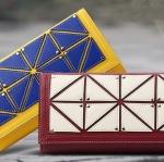 กระเป๋าสตางค์ผู้หญิง ใบยาว กระเป๋าสตางค์หนังแท้ ดีไซน์ แฟชั่น จากประเทศอังกฤษ 2 พับ ใส่บัตรได้เยอะ ออกแบบ สามเหลี่ยม ต่อกัน สีเหลือง แดง 684717