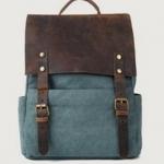 กระเป๋าสะพายหลัง กระเป๋าเป้ หนังม้า แท้ ผสม ผ้า canvas ดีไซน์ หรู กระเป๋าเป้ สไตล์วินเทจ สีฟ้า สินค้านำเข้า no 96217