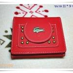 กระเป๋าสตางค์ lc ใบสั้นสีแดงสด 3 พับรุ่น logo เหล็ก