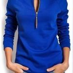 เสื้อยืดผู้หญิง แขนยาว สีน้ำเงิน เสื้อยืดแฟชั่น ผู้หญิง คอซิป ปรับความลึกได้ แต่งพู่ ตรงไหล่ แขนจั้ม แฟชั่น ดีไซน์ จาก ยุโรป 5008465_1